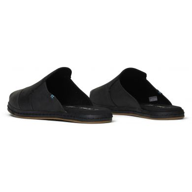 Dámské černé kožené pantofle TOMS Nova Leather Wrap