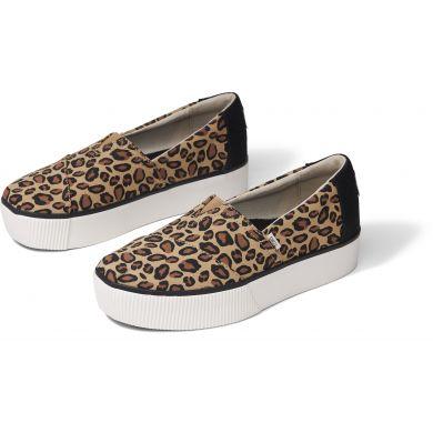 Dámské hnědé slip-on TOMS Alpargata Boardwalk s leopardím vzorem