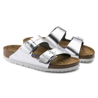 Stříbrné pantofle Birkenstock Arizona Soft Footbed Natural Leather Metallic