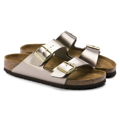 Šedohnědé pantofle Birkenstock Arizona Birko-Flor Electric Metallic