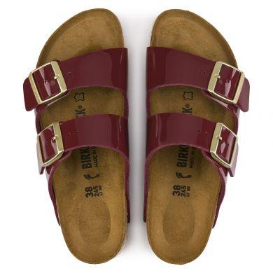 Tmavě červené pantofle Birkenstock Arizona Birko-Flor Patent