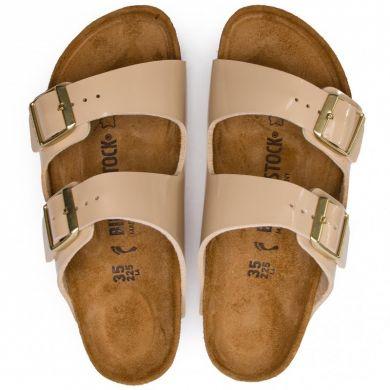 Béžové pantofle Birkenstock Arizona Birko-Flor Patent