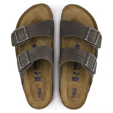 Šedé pantofle Birkenstock Arizona SFB Oiled Leather