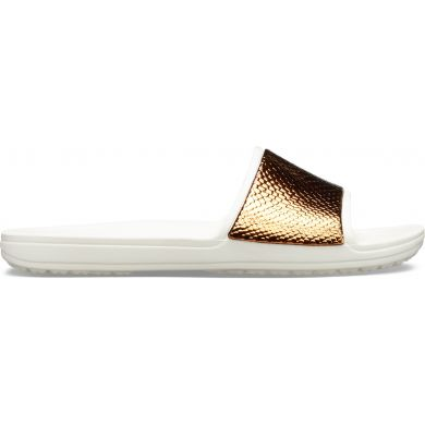 Crocs Sloane MetalText Slide W Bronze/Oyster