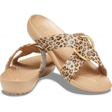CrocsSerena Prntd CrssBnd SldW Leopard/Gold Leopard/Gold