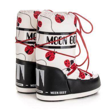Dětské červeno-bílé sněhule Moon Boot Jr Girl Ladybug