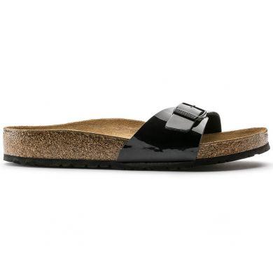Černé pantofle Birkenstock Madrid Birko-Flor Patent