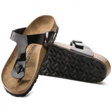 Černé pantofle Birkenstock Gizeh Birko-Flor Patent