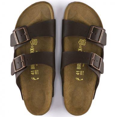 Tmavě hnědé pantofle Birkenstock Arizona Birko-Flor