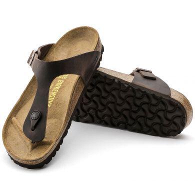 Hnědé žabky Birkenstock Gizeh Oiled Leather