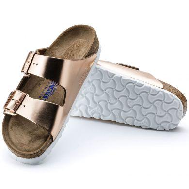 Měděné pantofle Birkenstock Arizona Soft Footbed Natural Leather Metallic