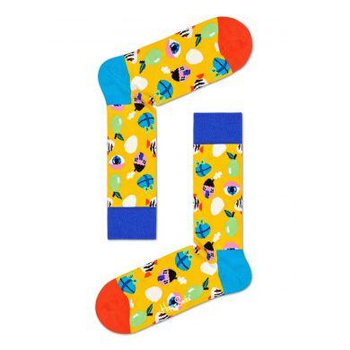 Žluté ponožky Happy Socks s velikonočním motivem, vzor Fantasy Eggs
