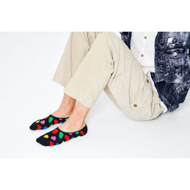 Černé nízké ponožky Happy Socks s jablky, vzor Apple