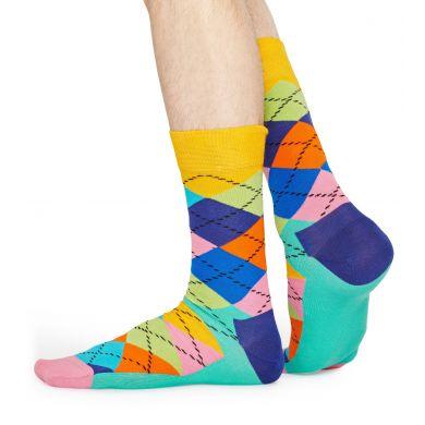 Tyrkysovo-růžové ponožky s károvaným vzorem Argyle