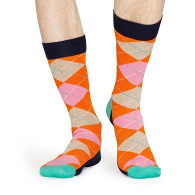 Oranžovo-růžové ponožky s károvaným vzorem Argyle