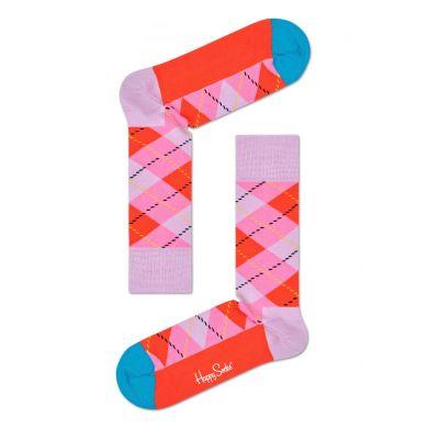 Růžovo-červené ponožky Happy Socks s károvaným vzorem Argyle