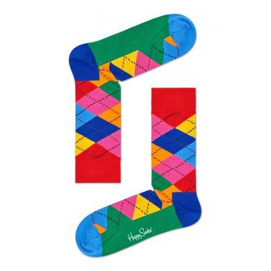 Červeno modré ponožky Happy Socks s barevnými kosočtverci, vzor Argyle