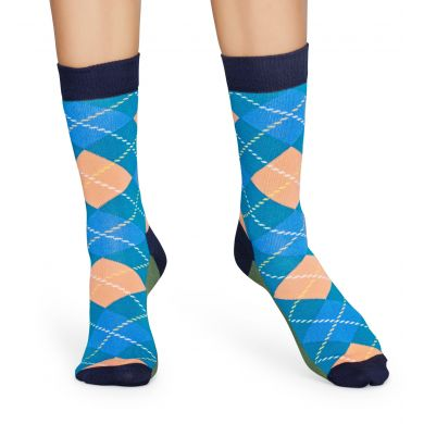 Modro-zelené ponožky Happy Socks s károvaným vzorem Argyle