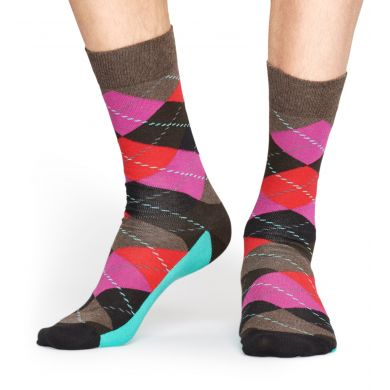 Hnědé ponožky Happy Socks s kosočtverci, vzor Argyle