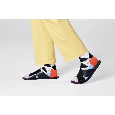 Černo-bílé ponožky Happy Socks s károvaným vzorem Argyle