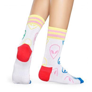 Středně vysoké bílé ponožky Happy Socks s ufony, vzor Alien // KOLEKCE ATHLETIC