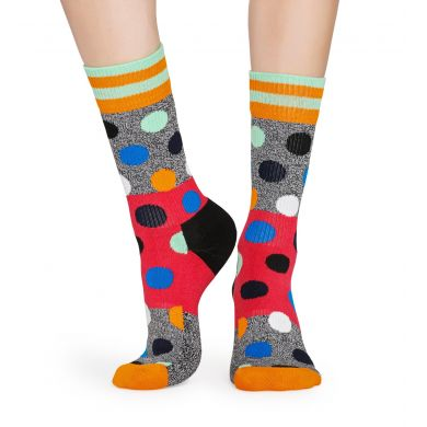 Šedo-červené ponožky Happy Socks s barevnými puntíky, vzor Big Dot Block // KOLEKCE ATHLETIC