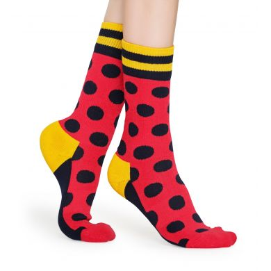 Červené ponožky Happy Socks s černými puntíky, vzor Big Dot // KOLEKCE ATHLETIC