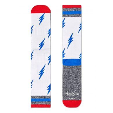 Bílé ponožky Happy Socks s modrými blesky, vzor Flash // KOLEKCE ATHLETIC