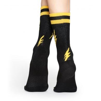Černé ponožky Happy Socks se žlutými blesky, vzor Flash // kolekce Athletic