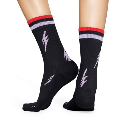 Černé ponožky Happy Socks s blesky, vzor Flash // KOLEKCE ATHLETIC