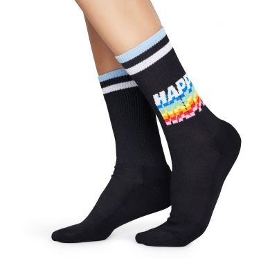 Černé ponožky Happy Socks s nápisem Happy // KOLEKCE ATHLETIC