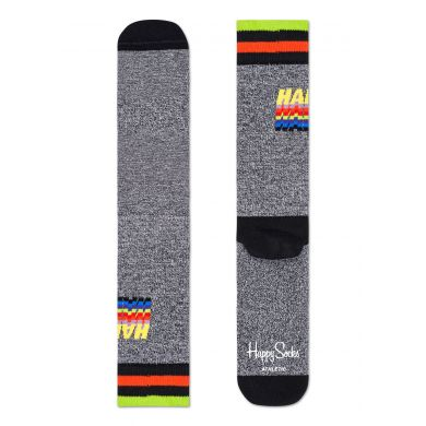 Šedé ponožky Happy Socks s nápisem Happy // KOLEKCE ATHLETIC