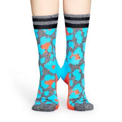Šedé ponožky Happy Socks s barevným vzorem Leopard // kolekce Athletic