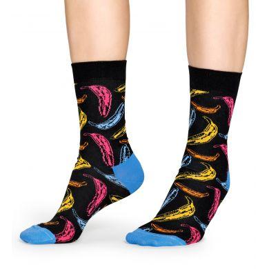Černé ponožky s barevnými banány z kolekce Happy Socks x Andy Warhol, vzor Banana