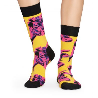 Žluté ponožky s krávou Happy Socks x Andy Warhol
