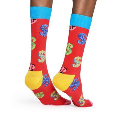 Červené ponožky s barevnými dolary Happy Socks x Andy Warhol