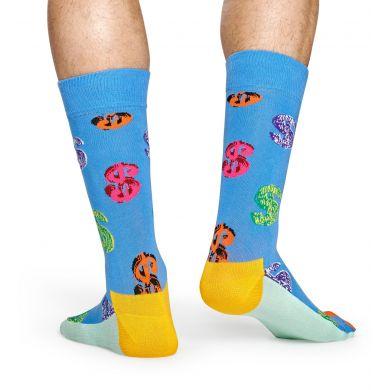 Modré ponožky se znakem dolaru z kolekce Happy Socks x Andy Warhol, vzor Dollar