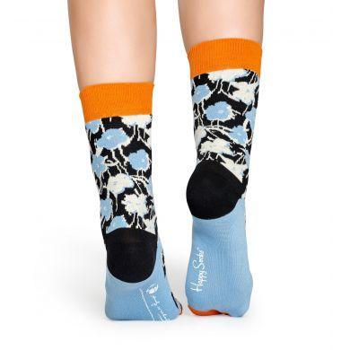 Světle modré ponožky s květinami z kolekce Happy Socks x Andy Warhol, vzor Flower
