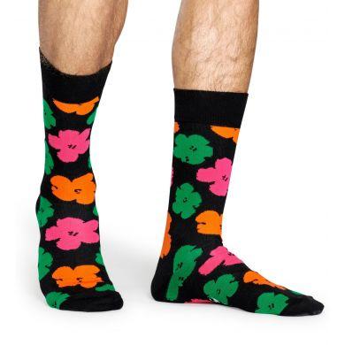 Černé ponožky s barevnými květinami z kolekce Happy Socks x Andy Warhol, vzor Flower