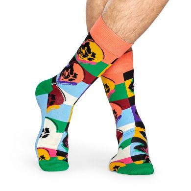 Barevné ponožky s lebkou z kolekce Happy Socks x Andy Warhol, vzor Skull