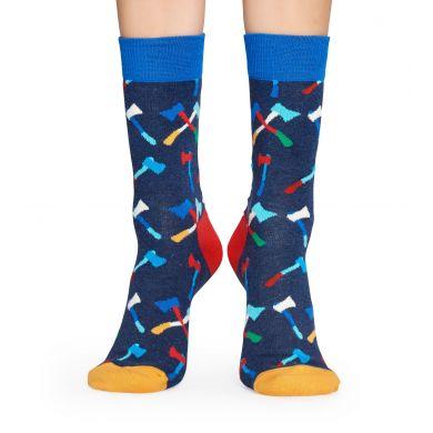 Modré ponožky Happy Socks s barevnými sekyrami, vzor Axe