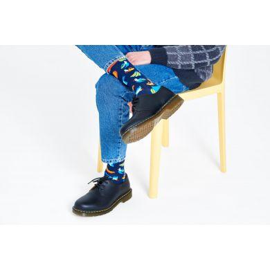 Modré ponožky Happy Socks s banány a ptáky, vzor Banana Bird