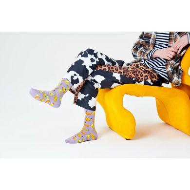 Fialové ponožky Happy Socks, vzor Banana