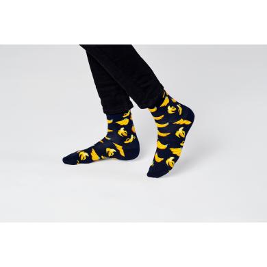 Černé ponožky Happy Socks s banány, vzor Banana