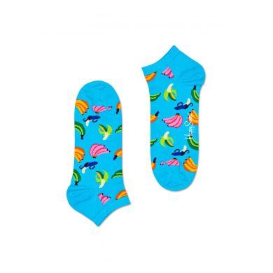 Nízké modré ponožky Happy Socks s banány, vzor Banana