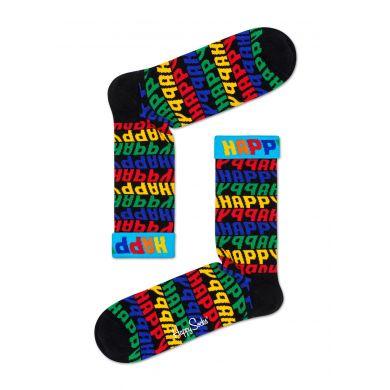 Černé ponožky Happy Socks s modrým lemem a barevnými nápisy Happy, vzor Jumbo Text