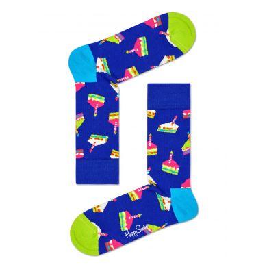 Modré ponožky Happy Socks s narozeninovým dortem, vzor Bday Cake