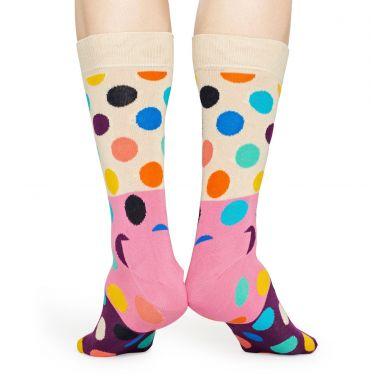 Béžovo-růžové ponožky Happy Socks s barevnými puntíky, vzor Big Dot Block