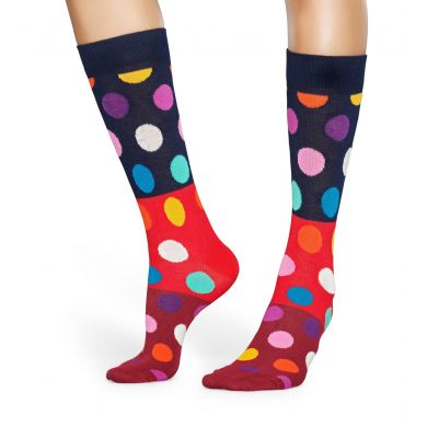 Červené ponožky Happy Socks s puntíky, vzor Big Dot Block