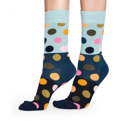 Tmavé ponožky Happy Socks se světle-zeleným pruhem, vzor Big Dot Block